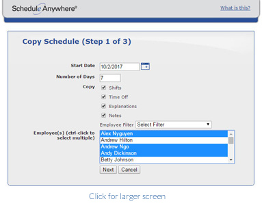 Automate staff scheduling with templates