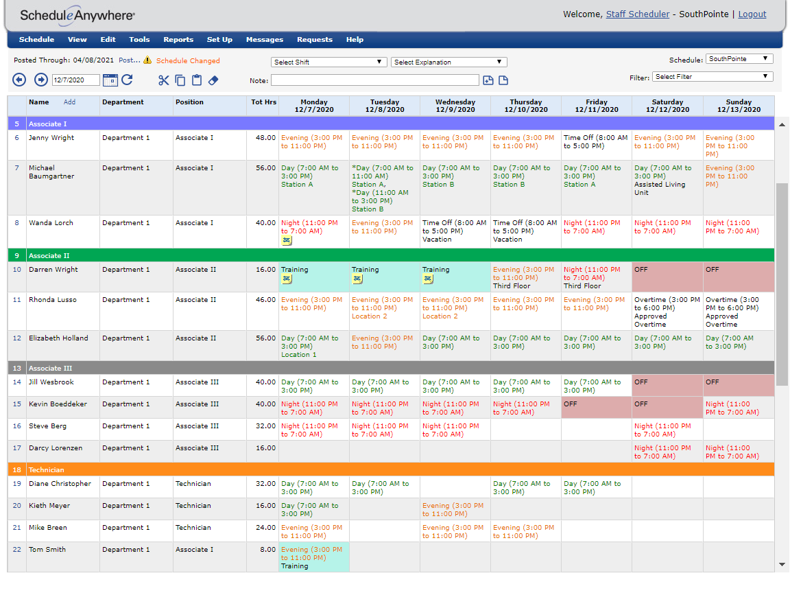 simple employee scheduling software layout