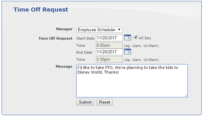 request time off work letter